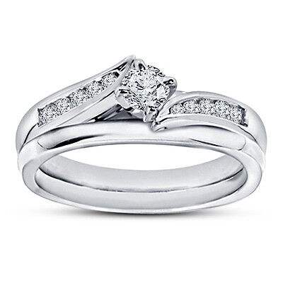 14K White Gold Over Round Cut D/VVS1 Diamond Engagement Bypass Bridal Ring Set