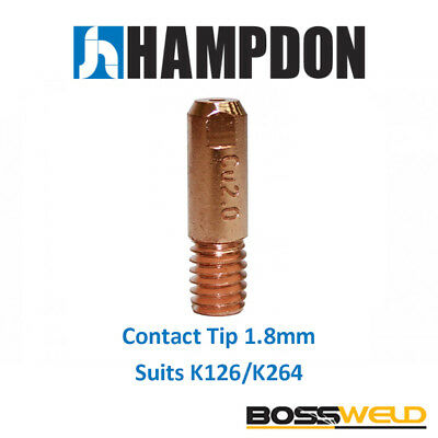 Bossweld Lincoln Style Contact tip 1.8mm suits K126/K264 (Pkt 10) - 94.T14050072