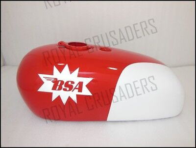 New Bsa Spitfire Hornet 2 Gallon Red And White Painted Petrol Tank (Code444)