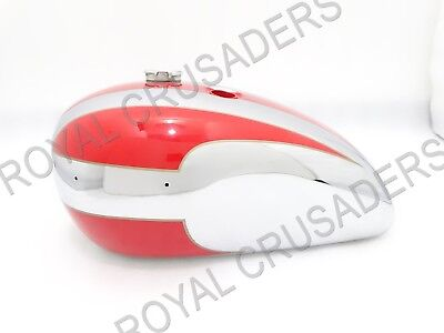NEW TRIUMPH 140 RED PAINTED AND CHROME PETROL TANK U.S. VERSION (REPRO) (code808