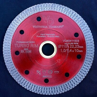 "VD Turbo Rim Thin Mesh Diamond Saw Blade Porcelain Granite Hard Tile 4 1/2"" 4.5"""