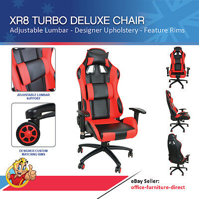 Deluxe Executive Racer Chair Gamer Red Black Office Gaming Chairs Racing Seat