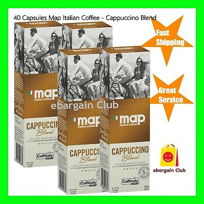 40 Capsules Map Italian Coffee Cappuccino Blend Capsule Pod Caffitaly System