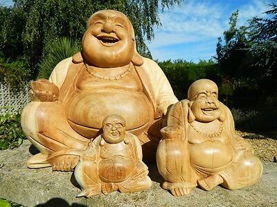 Wooden Buddha Carvings - Hand Carved Sitting Buddhas Assorted Sizes