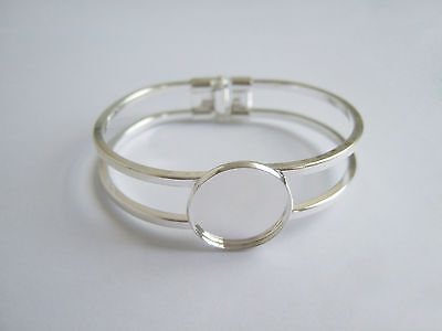 Silver Tone Cuff Bangle Bracelet Blank Base 20x20mm Round Cameo Cabochon Setting