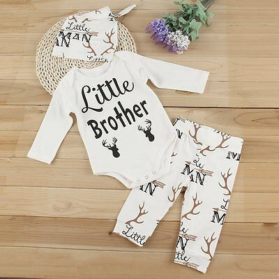 3PCS Newborn Infant Baby Girl Boy Tops Romper+Long Pants+Hat Outfits Clothes Set