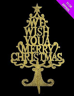 We Wish You Merry Christmas Gold Glitter 3D Tree Window Table Party Decorations