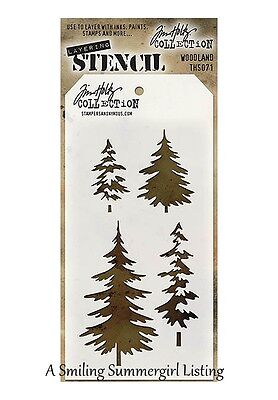Woodland Trees Design Layering Stencil  Stampers Anonymous Tim Holtz Collection