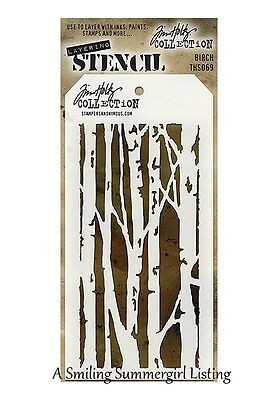 Birch Tree Design Layering Stencil Stampers Anonymous Tim Holtz Collection