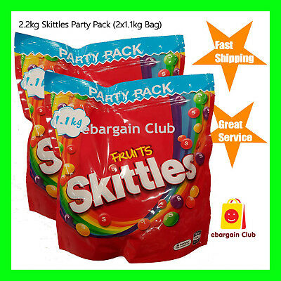 1.64kg Skittles Candy Fruits Bucket (2x Tubs of 820g) Bulk Pack Party
