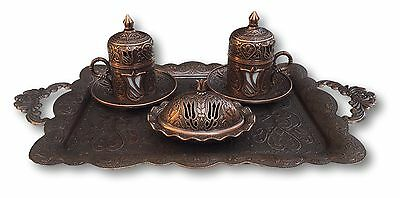 Traditional Turkish Coffee Tea Serving Tray Set Cup & Saucer Sugar Dish Antique