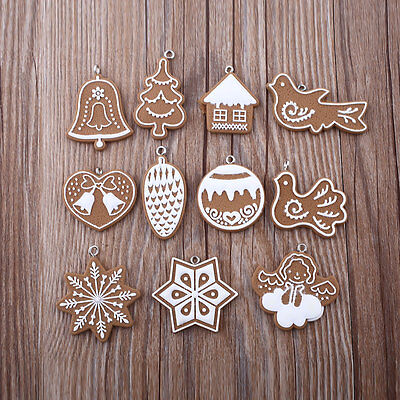 New 11Pcs Polymer Clay Decor Christmas Tree Snowflake Hanging Pendant Ornament