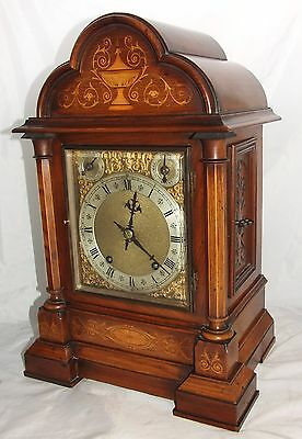 Antique Inlaid Mahogany TING TANG Bracket Mantel Clock Winterhalder Hoffmeier