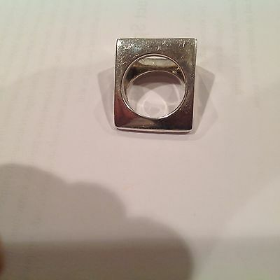 Vtg Mid Century Signed Modernist Brutalist 925 Square Cut Out Size 8 Heavy Ring