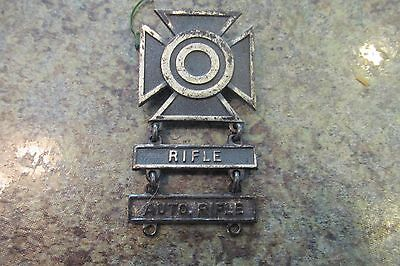 Vintage WWII US Military Marksman Rifle Badge Pin Enamel Sterling Silver
