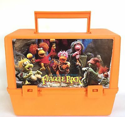 Fraggle Rock Orange Plastic Lunchbox Vtg 1984 Lunch Pail Missing Thermos Clean