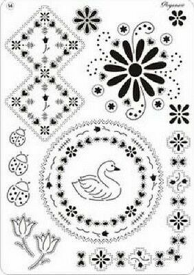 PERGAMANO Multi Grid 14 Perforating Parchment 31424 Swan Ladybirds Flowers