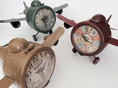 Aeroplane Design Clock Vintage Plane Metal Free Standing Bedside Table Ornament