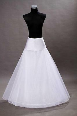 New white wedding dress bridal 1 Hoop A-Line petticoat Underskirt Crinoline #