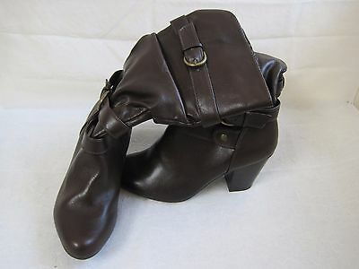 078649704581 JC PENNEY WOMEN S Junior Size 8 1 2 Buckle Side Zip Leather Brown ...