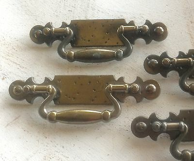 "Qty 4 Vintage HEAVY Antique BRASS Furniture Pulls #620 Holes 4"" C-C V1"