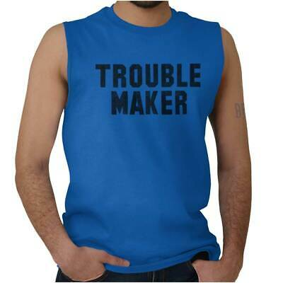 7ed55ef88 Troublemaker Rebel Funny Sarcastic Graphic Sleeveless T Shirts Tees Tshirts