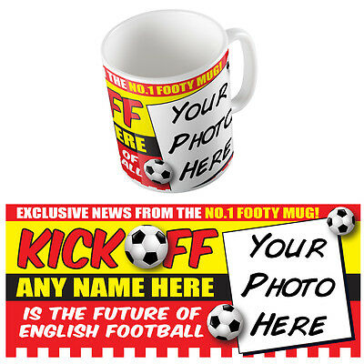 Your Photo On A Mug Personalised Football News Coffee Cup Gift For Kids & Boys