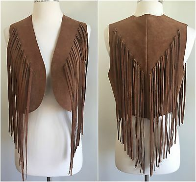 Vtg 1970's BOHO Long FRINGE Suede Leather VEST Gypsy HIPPIE Festival Bohemian