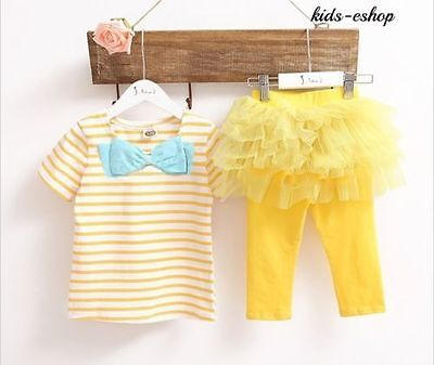 Baby Girl Toddler 2 Piece Outfit Set Tutu Tulle Leggings Skirt Top Party 12M-4Y