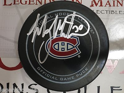 Manny Malhotra Montreal Canadiens Signed Logo Official Game Puck LOM