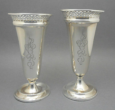 Pair of Antique Sterling Silver Wagoner Wilcox Reticulated Footed Trumpet Vases