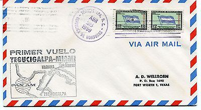 FFC 1959 First Flight Tegucigalpa-Miami Primer Vuelo Pan AM Fort Worth