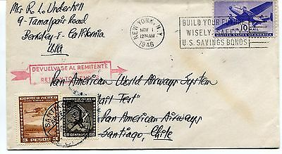 FFC 1946 Flight Cover Pan American World Airways System Air Mail Test Chile NY