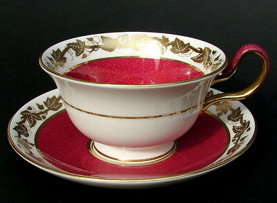 Wedgwood Ruby Whitehall W3994 Pattern Peony Tea Cups & Saucers - Look in VGC