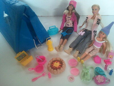 Mattel BARBIE DOLL Lot CAMPING/HIKING Playset with Skipper!
