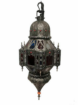 Moroccan Large Hanging Pendant Lamp in Carved Embossed Metalwork Stone Accents