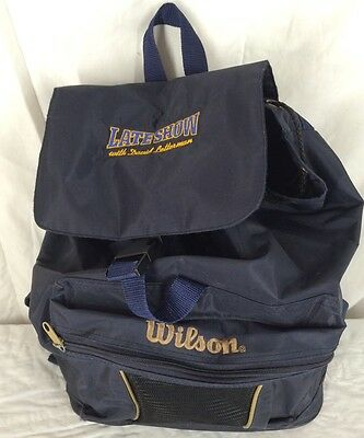 "Late Show With David Letterman Backpack Navy Blue 15"" X 13"""