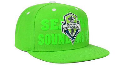 945f6cfdac1 NWT New Seattle Sounders FC adidas MLS Academy Rave Green OSFA Snapback Hat  Cap