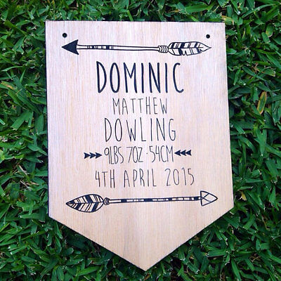 Personalised Wooden Baby Announcement w' Arrow Plaque. Nursery Decor. Baby Gift.