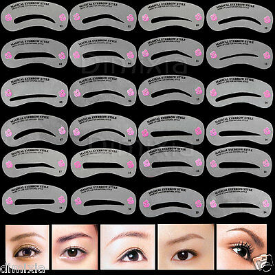 24x Eyebrow Smokey Cat Winged Eyeliner Eye Stencil Shaping Template Guide Card