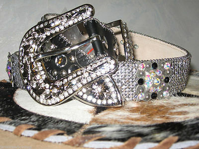 Western Leather Ladies Bling Belt Cowgirl Concho Size Xl 1 1/2 Inch 5 Conchos