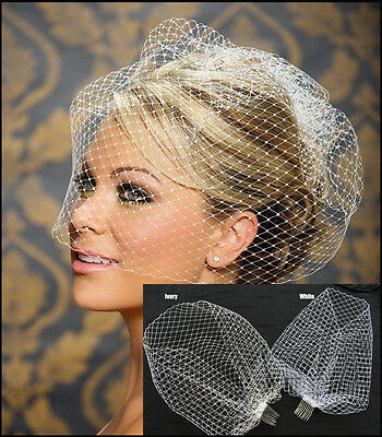 New White Charming Wedding Veil Bridal Birdcage Veils Net with Comb