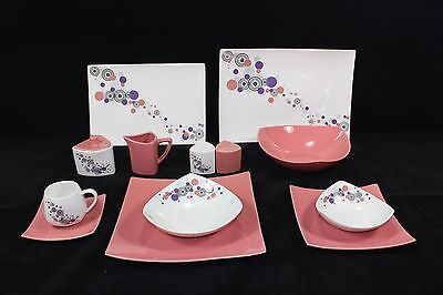 For 6 People 44 Piece Dinner Set in Pink Circle.