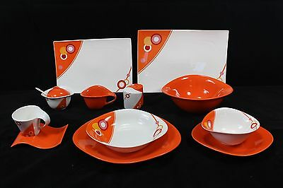 For 6 People 45 Piece Dinner Set in Orange Circle CLEARANCE BELOW COST