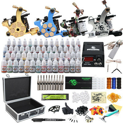 Complete Tattoo Kit 9 Top Machine Gun 40 Color Ink Power Supply Needle D23GD-13