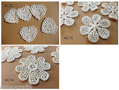 AC5-14-15 cream white heart,dotted flower cotton sewing lace patch trim 10pieces