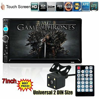 "2 Din 7"" HD Touch Screen Dash Stereo Car MP5 Player Bluetooth Radio FM +Camera"