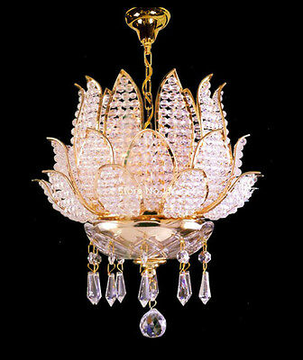 RARE Gold Lotus Luxury Crystal Lantern Chandelier/Ceiling Lights Buddhism/Flower