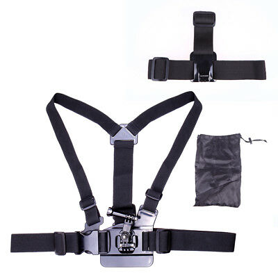 Elastic Adjustable Head + Chest Harness Strap Mount for GoPro Hero 5 4 3 Camera