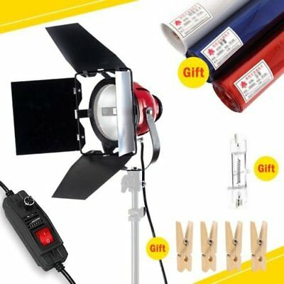 800W Video Continuous Red Head Light Kit 3 Gels Color Filter 4 Wooden Clip +Bulb